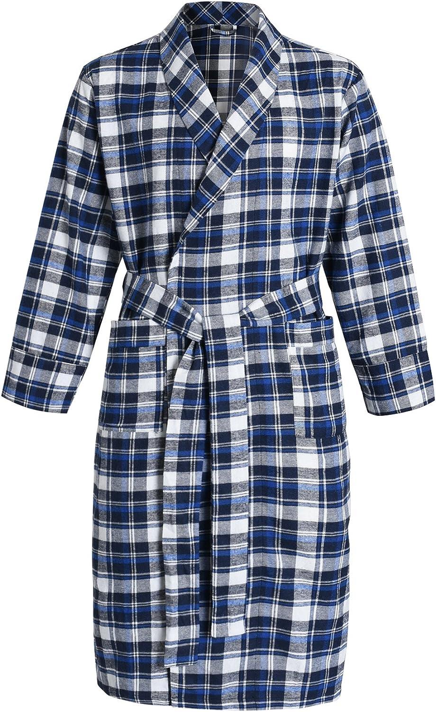 Latuza Max 40% OFF Men's Quality inspection Cotton Robe Flannel