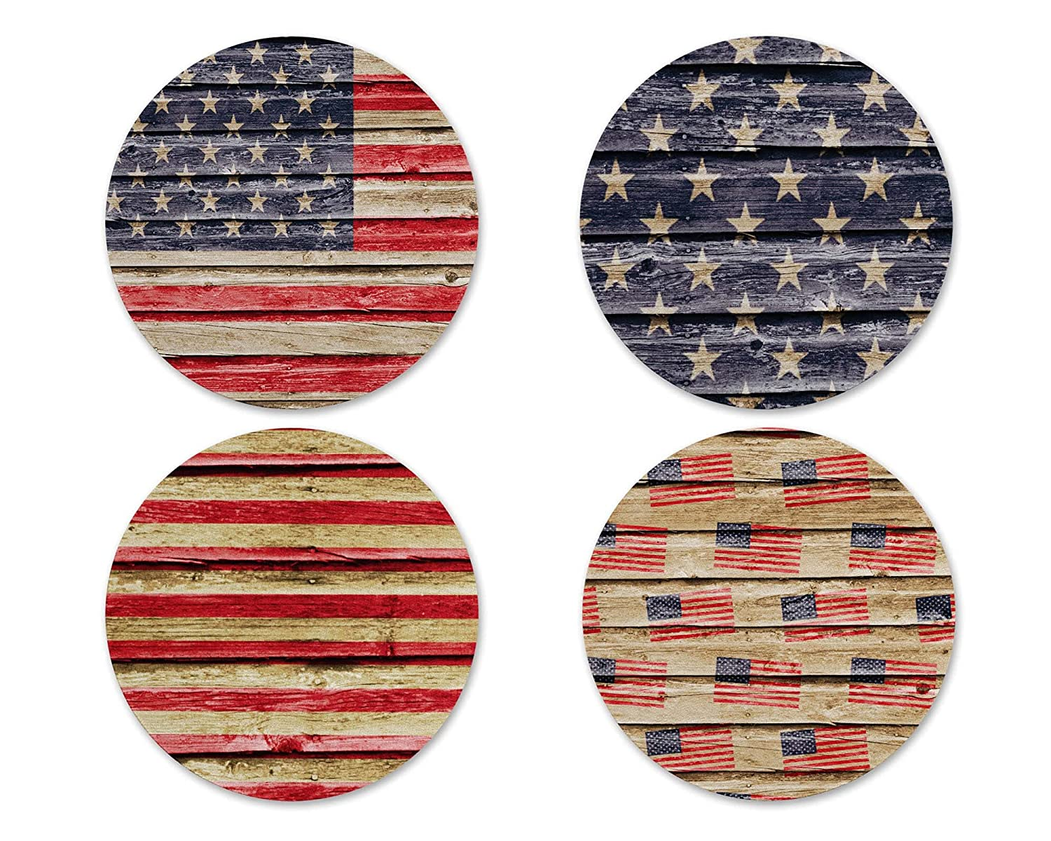 Rapid rise American Flag Rustic Faux Acrylic Barnwood Coasters Free shipping anywhere in the nation