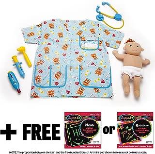Melissa & Doug Pediatric Nurse Costume & 1 Scratch Art Mini-Pad Bundle (08519)