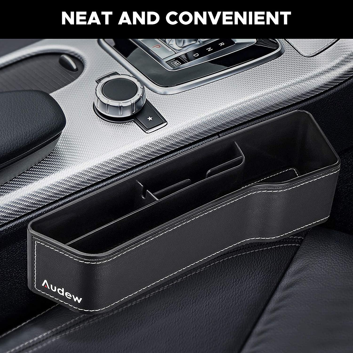 Multifunctional Seat Gap Storage Box with Non-Slip Mat 2 Pack PU Leather Car Console Side Organizer with Cup Holder Audew Car Seat Gap Filler