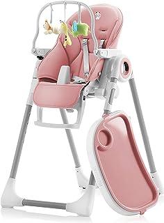 Sweety Fox - Chaise Haute Bébé Evolutive Rose - Chaise Haute Réglable et Pliable: 7 Hauteurs - Dossier 5 Positions - Table...