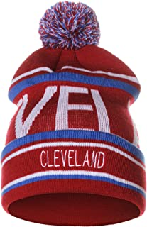 American Cities Unisex USA Cities Fashion Large Letters Pom Pom Knit Hat Beanie