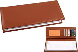 Business Size and Travelers Check Checkbook Cover PU Leather with Built in Storage Pockets for Side Tear Checks (Light Brown)