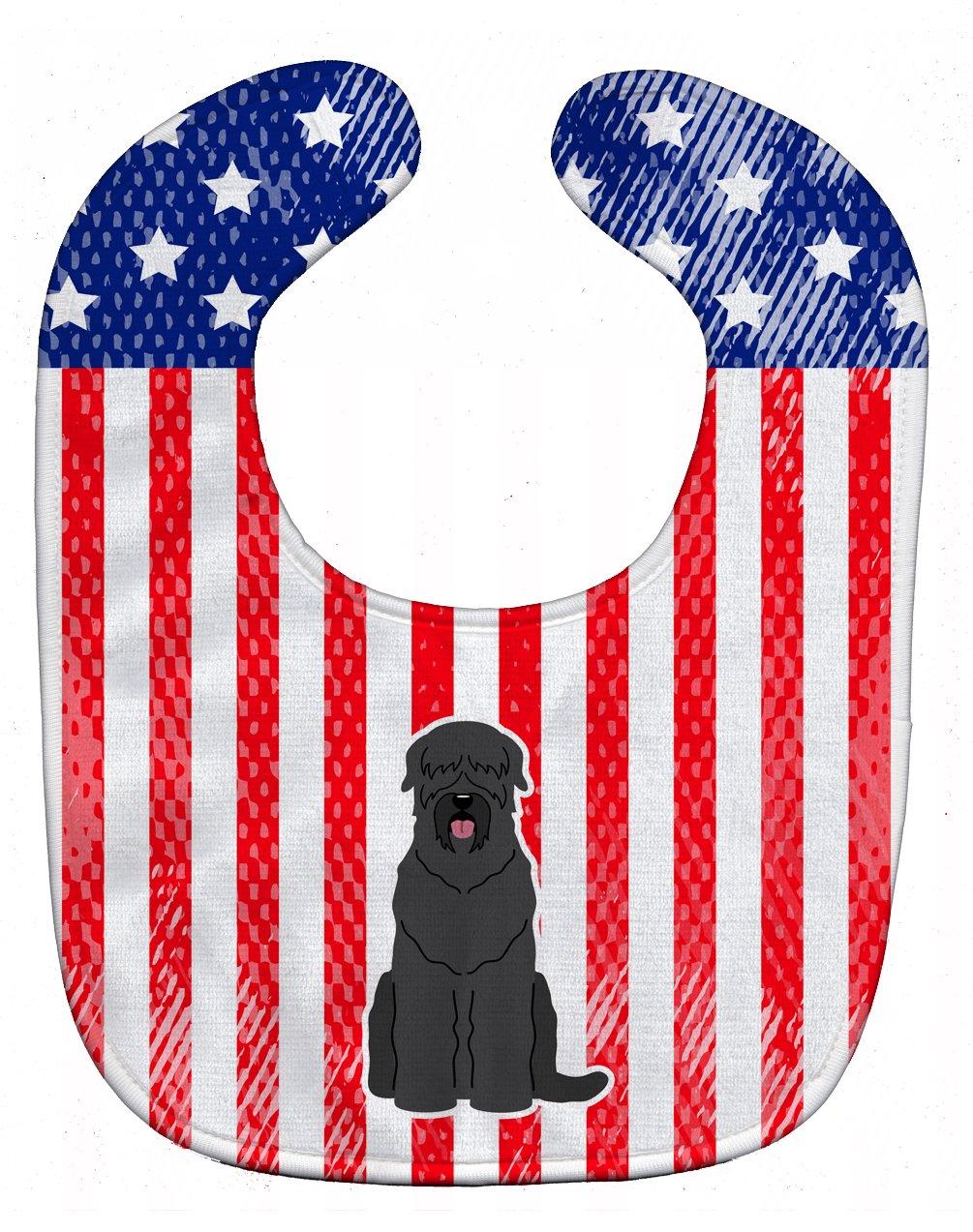 Caroline's Treasures BB3021BIB Patriotic USA Black Russian Terrier Baby Bib, 10 x 13