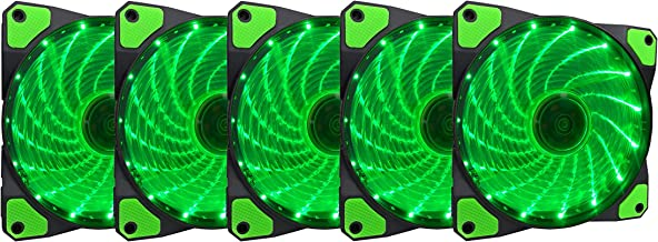 APEVIA AF512L-SGN 120mm Green LED Ultra Silent Case Fan w/ 15 LEDs & Anti-Vibration Rubber Pads (5-pk)