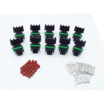 CNKF 10 Sets GM Haltech MAP 3 pin way male and female Weatherpack plug waterproof auto wire Connector Includes Terminals and Seals 12020829 12020827