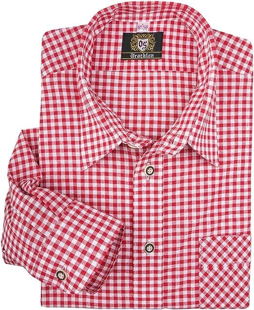 Orbis Camisa Tradicional a Cuadros Rojo-Blanco Oversize, 45 ...