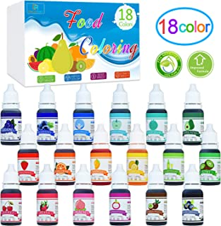 Food Coloring - 10ml x 18 Color Liquid Cake Food Coloring Set for Baking, Decorating, Fondant and Cooking - Rainbow Icing Food Colors Dye for DIY Slime Making and Crafts - .38 fl. oz. Bottles