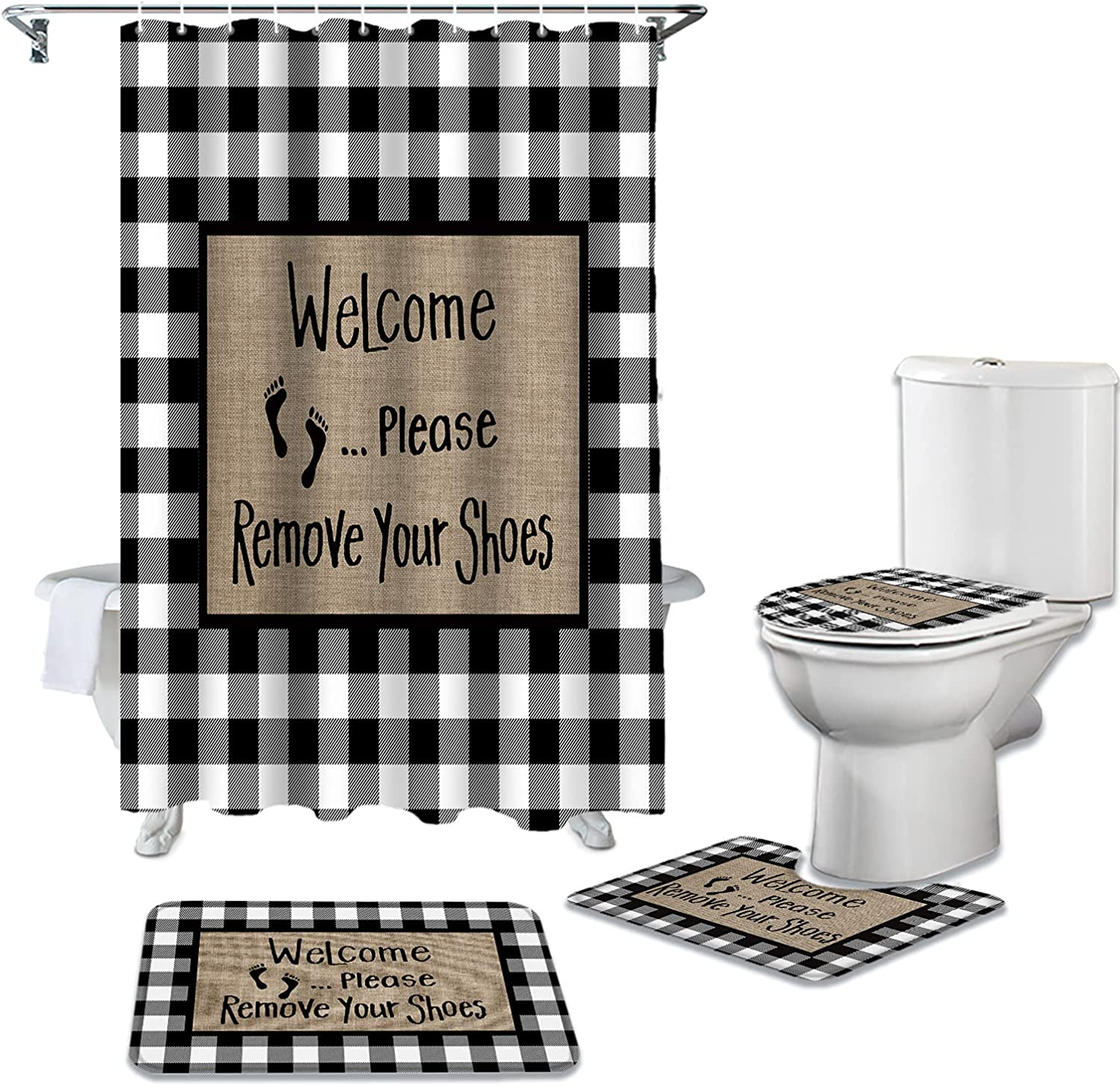 4 Piece Bathroom Mat Sets Product Welcome Blac Shoes Remove Your Popular popular Please