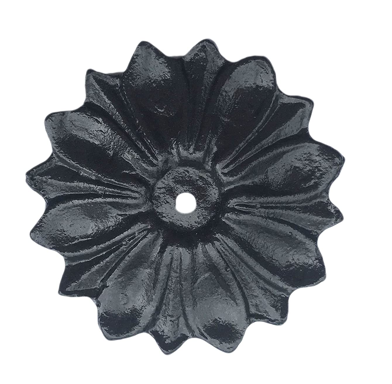 Antique Knob Back Plate (5 COLORS) Solid Metal Flower Shaped Decorative for Knobs, Pull (Black)