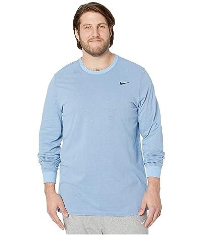 Nike Big Tall Dry Tee Dri-FITtm Cotton Long Sleeve Solid (Light Blue/Night Maroon) Men