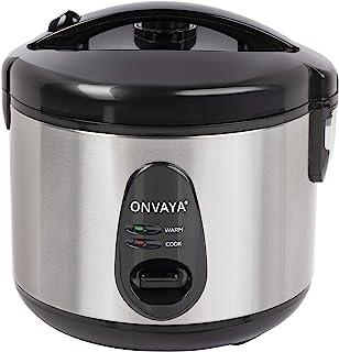 Cuiseur de riz ONVAYA® 1,2 litre en acier inoxydable | avec insert pour cuiseur vapeur | double couvercle fonction de main...
