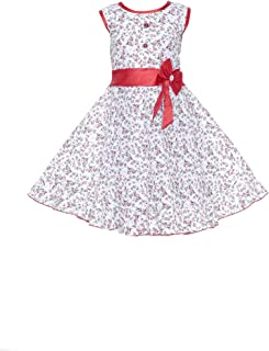 a664ee4c4 YAYAVAR Girls Cotton Made Floral Printed White & Red Colored Casual Frock  for Girls - Set