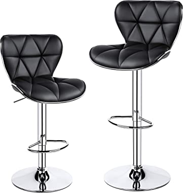 YAHEETECH Patio Stool Adjustable PU Leather Swivel Chair with Shell Back, Outdoor Bar Stools, Set of 2 Black