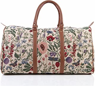 Ladies Tapestry Carry-on Overnight Weekender Hand Luggage with Garden Flower