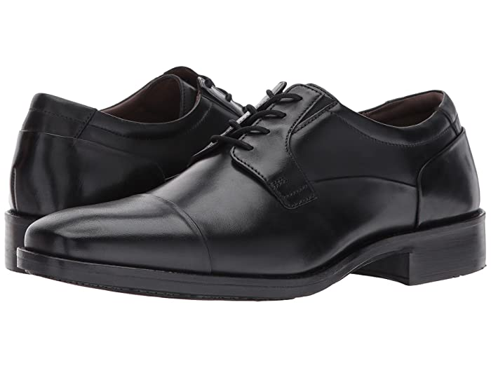 Johnston and Murphy  Lancaster Dress Cap Toe Oxford (Black Full Grain) Mens Lace Up Cap Toe Shoes