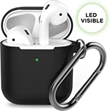 PodSkinz AirPods Case [Front LED Visible] Protective Silicone Cover Compatible with AirPods 1 & AirPods 2 (Gen 2) (with Carabiner, Black)