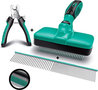 Ruff 'n Ruffus Self-Cleaning Slicker Brush + 2 Free Bonuses | Steel Comb + Pet Nail Clippers |Grooming Supplies Great for All Breeds & Hair Types