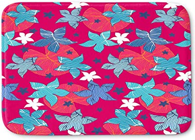 Kess InHouse NL Designs Rainbow Feathers on White Multicolor Pattern Memory Foam Bath Mat 17 X 24 17 by 24-Inch