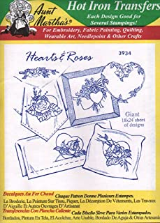 Hearts & Roses Aunt Martha's Hot Iron Embroidery Transfer