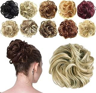 FESHFEN Synthetic Hair Bun Extensions Messy Hair Scrunchies Hair Pieces for Women Hair Donut Updo Ponytail 16h613 Light Ash Brown & Bleach Blonde