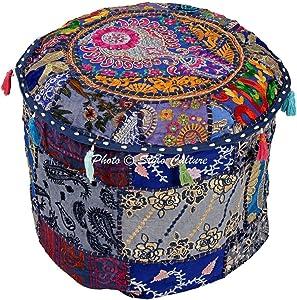 Stylo Kultur Baumwolle Blumen Patchwork gestickte osmanische Sitzpuff Abdeckung Blaue Fuß Hocker Möbel