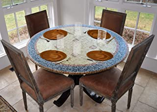 LAMINET - Elite Elastic Edged Print Table Pad - Mosaic Blue - Small Round - Fits Tables up to 44