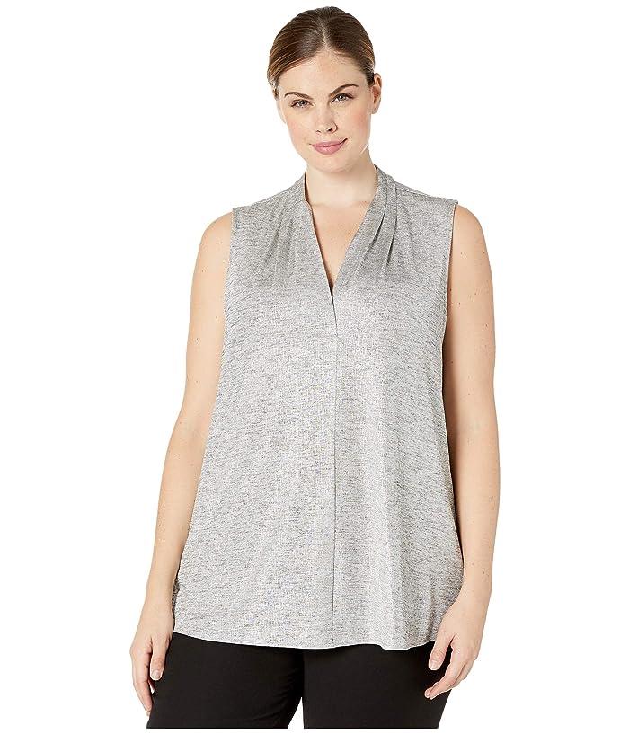 Plus Size Sleeveless Inverted Pleat Top (Metallic Silver) Women's Blouse