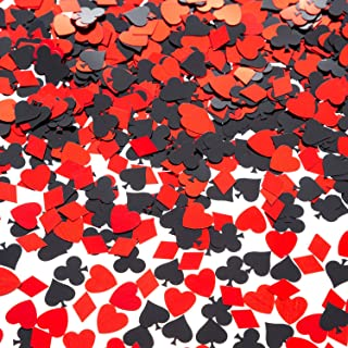 EMAAN Casino Foil Confetti Sequins, Decorative Table, Light Up Your Poker Theme Party (Red, Black)
