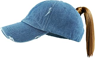 Funky Junque Womens Baseball Cap Glitter Dad Hat Ponytail Messy Bun Trucker