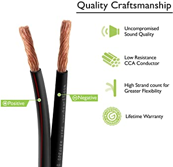 16AWG Speaker Wire, GearIT Pro Series 16 Gauge Speaker Wire Cable (200 Feet / 60.96 Meters) Great Use for Home Theate...