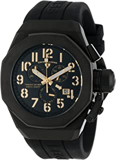 Swiss Legend Men's 10542-BB-01-GA Trimix Diver Chronograph Black Dial Black Silicone Watch