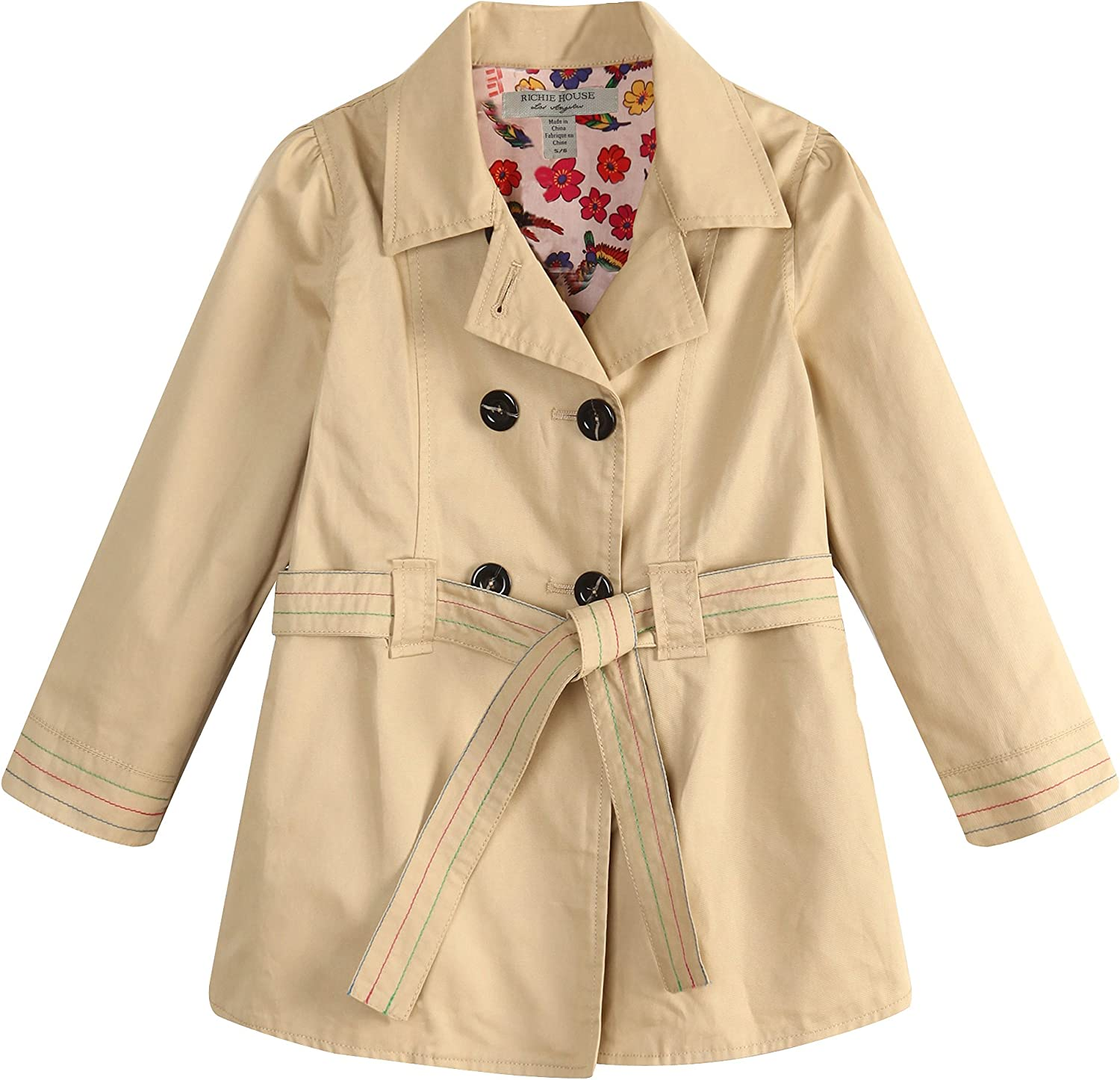 Richie House Big Girls' Colored Trench Coat with Floral Lining Fabric Rh0768