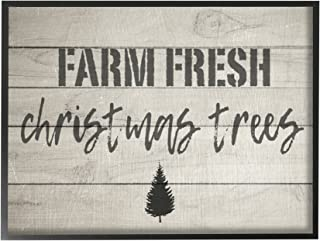 Stupell Industries Farm Fresh Christmas Trees Vintage Sign Black Framed Wall Art, 16 x 20, Multi-Color
