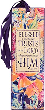 Christian Art Gifts Faux Leather Bookmark Blessed is The One Jeremiah 17:7 Bible Verse, Purple Floral