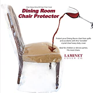 "LAMINET Heavy-Duty Crystal-Clear Dining Chair Protectors - Protects Your Dining Room Chair from Dust, Dirt, Spills, Pet Hair, Paws and Claws! Fits Chairs Up To 41""BH x 20FH x 20""W x 22D - SET OF 4"
