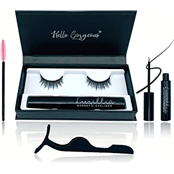 Luxillia 5D Magnetic Eyelashes ith Eyeliner Kit Free Tweezers and Brush - Magnetic Lashes Set with Most Natural Look, Best Quality Eyelash Magnets, Reusable flase lash, Waterproof Liquid Magnetic Eye Liner