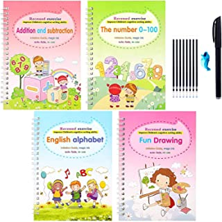 4PCS Magic Practice Copybook for kids,Reusable Handwriting Calligraphy Copybook,Print Handwriting Workbook (Alphabet Book ...