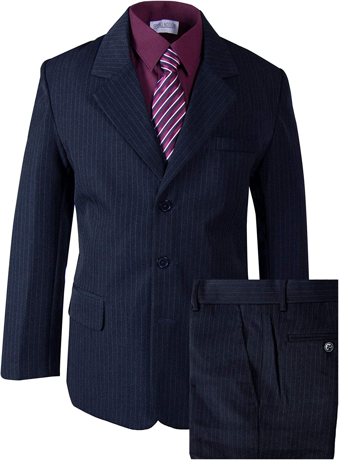 Spring Notion Boys' Pinstripe Black Suit with Matching Tie and Bow Tie
