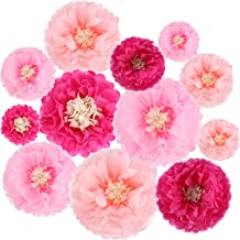Gejoy 12 Pieces Paper Flower Tissue Paper Chrysanth Flowers DIY Crafting for Wedding Backdrop Nursery Wall Decoration (Color Set 1)
