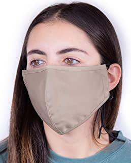 Headmost ComfyMax 3 Layer Fabric Facemask: Water Repellent, Washable & Breathable Face Mask (Khaki1)