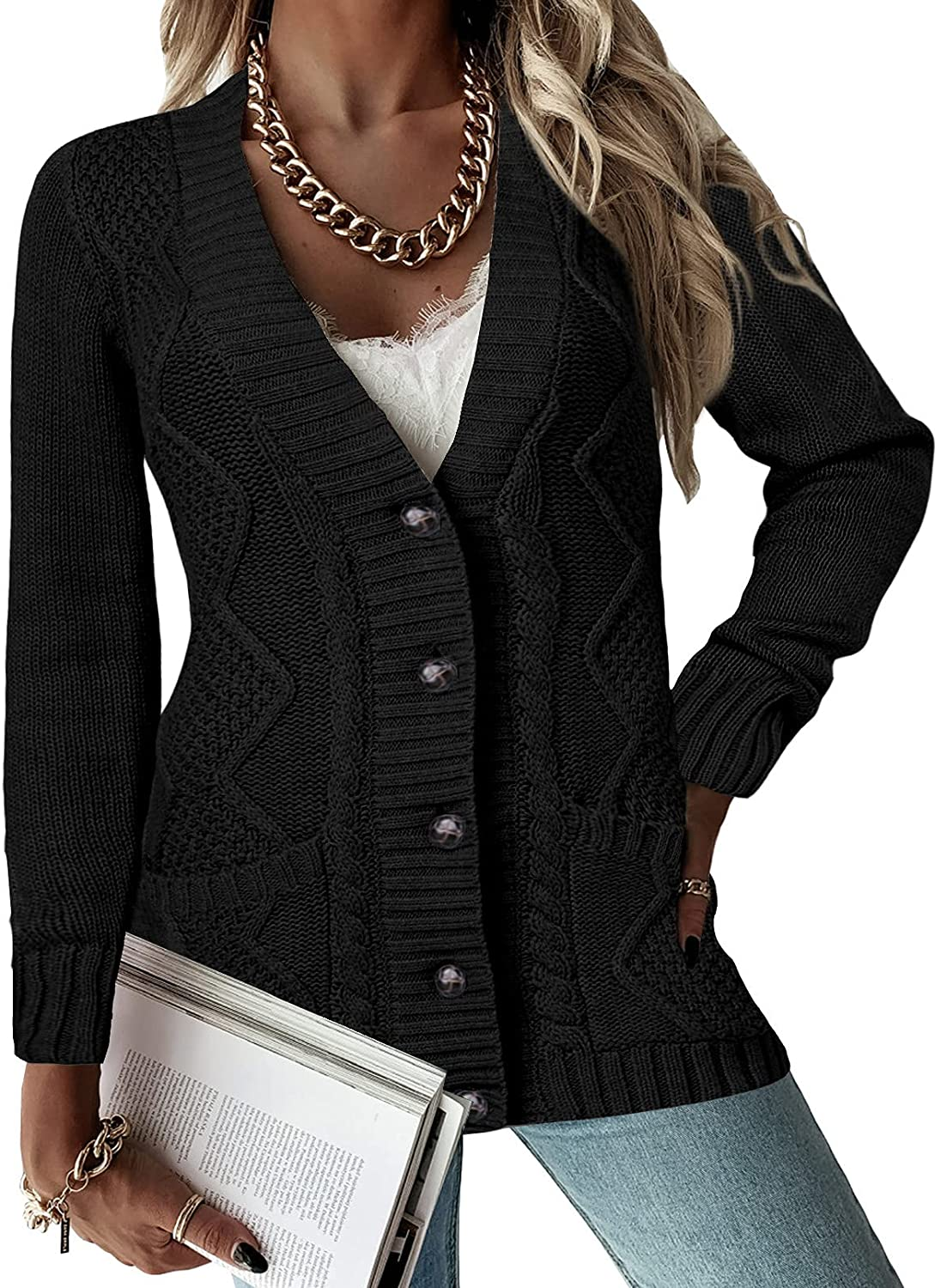 Astylish Women Open Front Cardigan Knit Sweater Outerwear Coat with Button