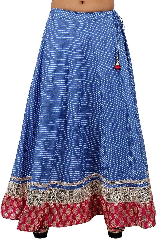Indian Handicrfats Export Stylish bluee Cotton Lehariya Skirt