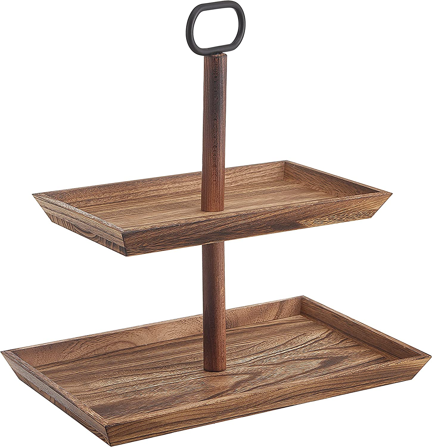 Realyoo Tiered Tray Max 61% OFF Stand 2 Rustic Cheap mail order sales Vin Tier Wooden