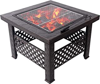 Outdoor Fire Pit Garden Terrace Wood Burning Fire Pit Bowl Square Barbecue Table, Terrace Patio Lawn Backyard Barbecue Par...