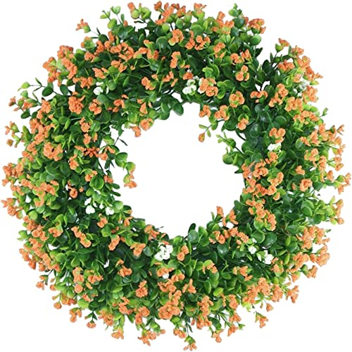 2021 16 Inch Artificial Eucalyptus Wreath Green sale Leaf Flower Wreath for Festival Front Door Wall Window Decor Greenery Farmhouse Wreath Spring Easter Wreath for Front popular Door outlet online sale