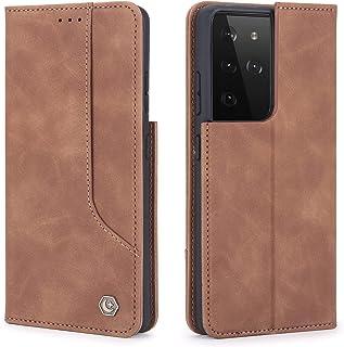 NEINEI Hoesje voor Samsung Galaxy S21 Ultra 5G Case,Flip Leer Hoes met [Magnetisch] [Kaartsleuf] [Bracket],Zakelijk Ontwer...