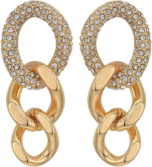 Rebecca Minkoff Pave Link Drop Earrings Gold One Size
