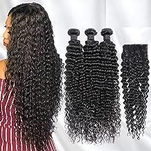 8A Human Hair Deep Wave 3 Bundles With Closure 100% Unprocessed Brazilian Virgin Hair Deep Curly 4x4 Middle Part Lace Closure (10/12/14+10inch, bundles with closure) …