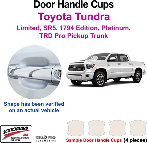 YelloPro Custom Fit Door Handle Cup 3M Anti Scratch Clear Bra Paint Protector Film Cover Self Healing Guard for 2014 2015 2016 2017 2018 2019 2020 2021 2022 Toyota Tundra Pickup Truck